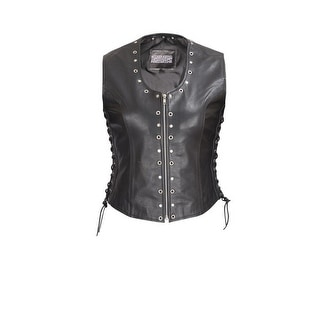 Front Zip Ladies Biker Motorcycle Vest with Studs and O Rings Lace Sides MBV104
