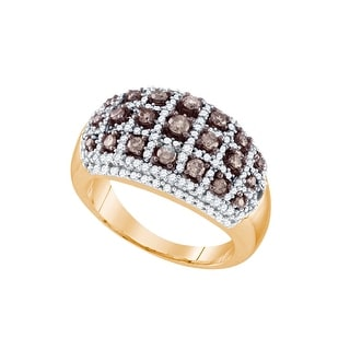 10k Rose Gold Womens Cognac-brown Diamond Dome Striped Cocktail Fashion Ring 3/4 Cttw - Brown/White