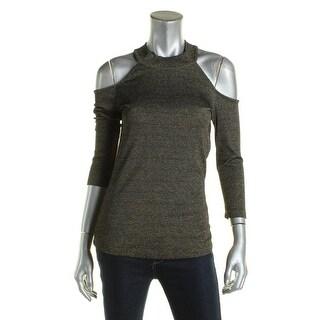 Design History Womens Casual Top Metallic Cold Shoulder