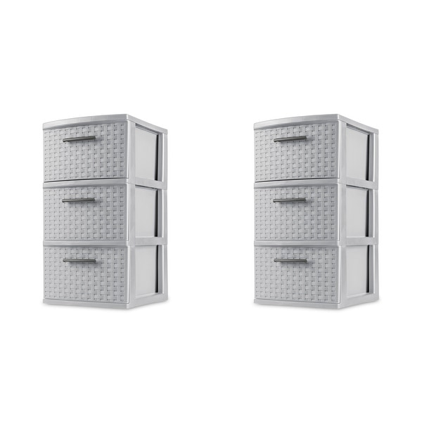 STERILITE 3 Drawer Weave Towers, Cement Color, Set of 2. Opens flyout.