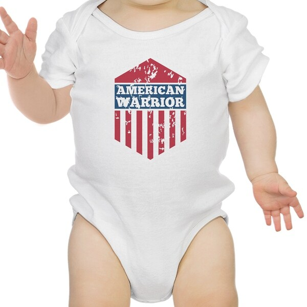 American Warrior White Baby Bodysuit Snap On Cute Baby Shower Gifts