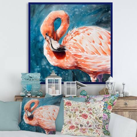 Designart 'Pink Flamingos In Blue Water II' Farmhouse Framed Canvas Wall Art Print