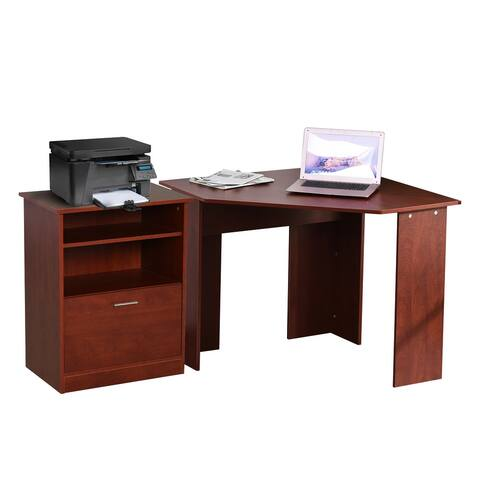 HOMCOM 2 Piece Corner Computer Desk with Printer Stand Storage Cabinet Drawer Shelf