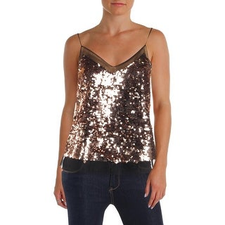 Julie Brown Womens Adrina Tank Top Sequined Mesh