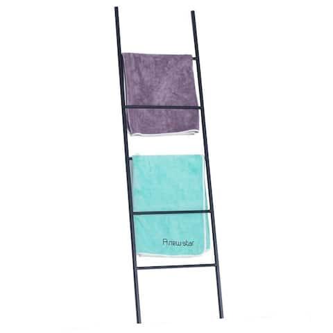 Bath Towel Ladder Storage Organization Rack Black