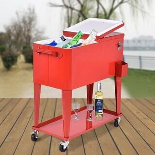 Costway 80-quart Cooler Beer Cart Outdoor Entertaining Rolling Party Steel Bar Bistro