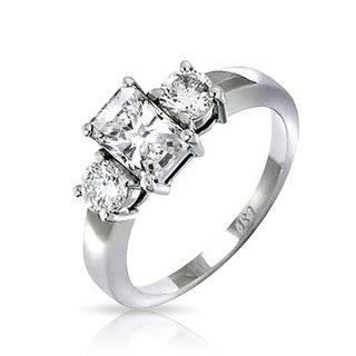 Art Deco Style 2CT Rectangle Emerald Cut 3 Stone Past Present Future Promise CZ Engagement Ring 925 Sterling Silver