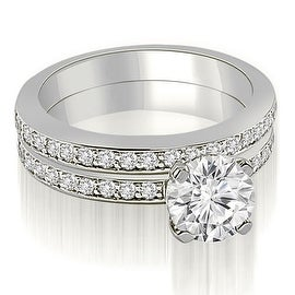 1.10 cttw. 14K White Gold Classic Round Cut Diamond Bridal Set