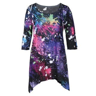 Women's Paint Splatter Tunic Top - Long Sharkbite Hem Shirt|https://ak1.ostkcdn.com/images/products/is/images/direct/66cdff2de4f100df66ba09a88b0fe3dc60a726d8/Women%27s-Paint-Splatter-Tunic-Top---Long-Sharkbite-Hem-Shirt.jpg?impolicy=medium