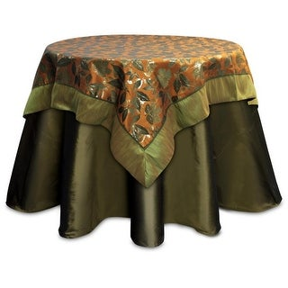 Pack of 2 Olive Green and Rustic Orange Fall Leaf Table Toppers 54""