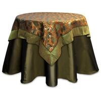 """Pack of 2 Olive Green and Rustic Orange Fall Leaf Table Toppers 54"""""""