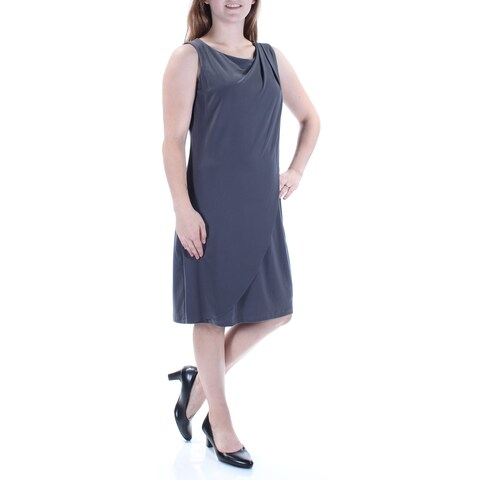 JESSICA SIMPSON Womens Gray Eyelet Sleeveless Jewel Neck Knee Length Shift Formal Dress Size: 8