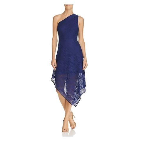 ADRIANNA PAPELL Blue Sleeveless Tea Length Layered Dress Size 10