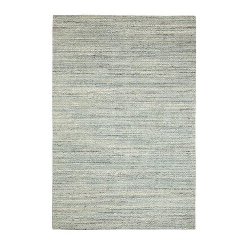 "Shahbanu Rugs Green Variegated Design Hand Loomed Pure Wool Modern Oriental Rug (6'0"" x 8'10"") - 6'0"" x 8'10"""