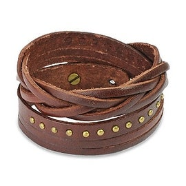 Brown Multi Strap Braided and Studded Cuff Leather Bracelet (17 mm) - 7.5 in