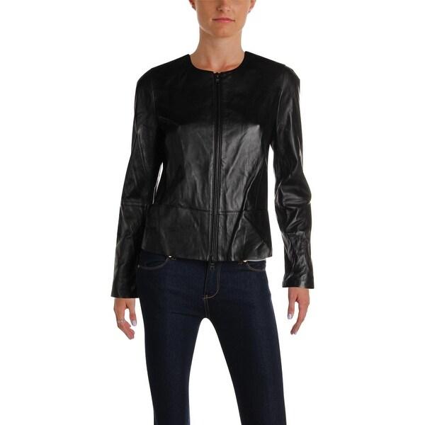 Anne Klein Womens Leather Jacket Fall Lightweight