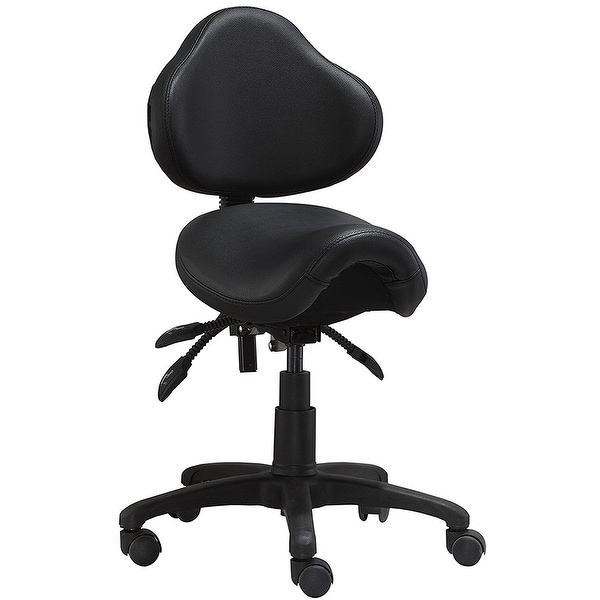 2xhome ergonomic adjustable rolling saddle stool chair with back