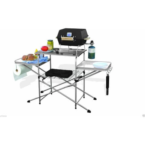 Camco cDeluxe Folding Grilling Table Grill Table for Camp Chefs Aluminum