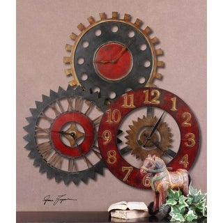 "35"" Colorful Round Mechanical Gear Wall Clock"