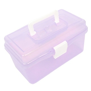 Plastic Handle Double Layer Hardware Tools Storage Box Clear Purple