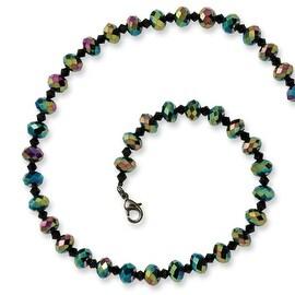 Black IP Aurora Borealis Black Crystal Necklace - 16in