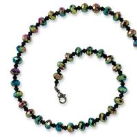 Black IP Aurora Borealis Black Crystal Necklace - 16in