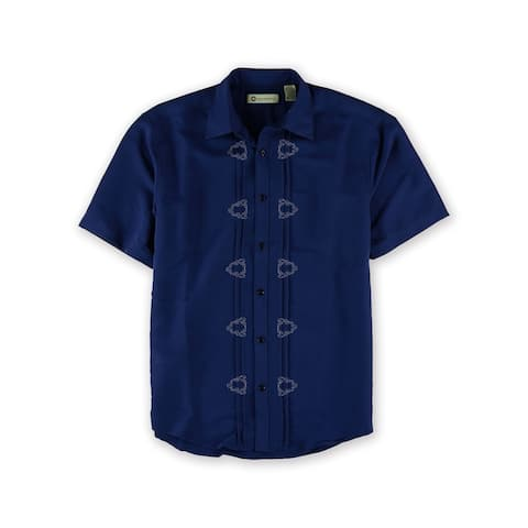 Havanera Mens Embroidered Linen Button Up Shirt, Blue, Small