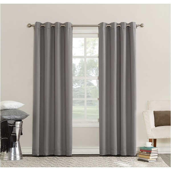 Sun Zero Erin Room-Darkening Triple Lined Grommet Curtain Panel-Gray - Grey -