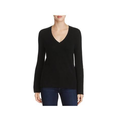 Elie Tahari Womens Belle V-Neck Sweater Merino Wool Bell Sleeve