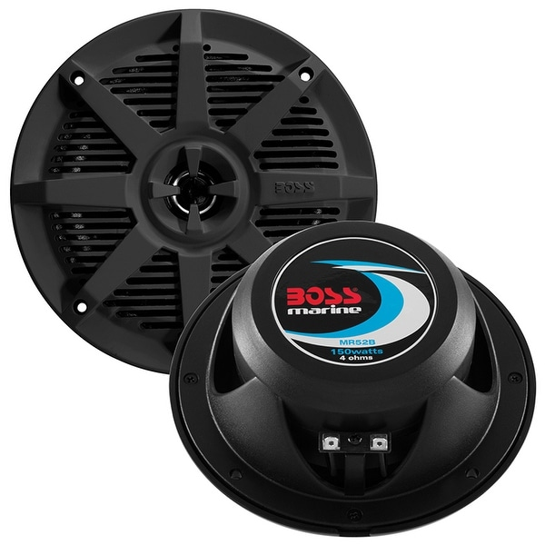 BOSS Audio MR52B 150 Watt (Per Pair), 5.25 Inch, Full Range, 2 Way Weatherproof Marine Speakers (Sold in Pairs)