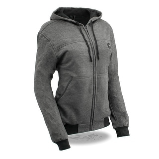 Womens Grey Zipper Front Heated Hoodie W Front Back Heating Elements