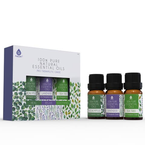 Pursonic 100% Natural Aromatherapy Essential Oils, Eucalyptus, Lavender & Tea Tree