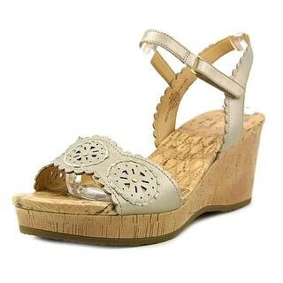 Easy Spirit Marvela Women  Open Toe Synthetic Gold Wedge Sandal