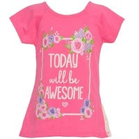 Mini Moca Little Girls Neon Pink Rose Letters Print Lace Panel Top