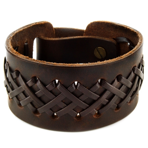 Brown Laced Leather Cuff Bracelet (33 mm) - 8 in
