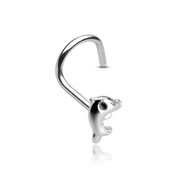 20 GA .925 Sterling Silver Nose Screw with 3mm Dolphin (Sold Ind.)