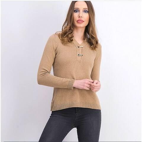 Karen Scott Women's Cotton Toggle Henley Sweater Brown Size Petite Medium - Petite Medium