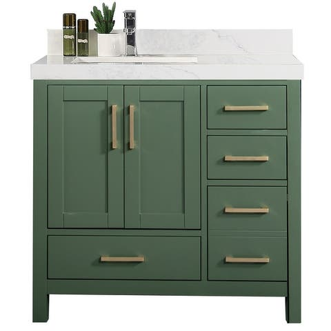 Willow Collections 36 x 22 Malibu Left Offset Sink Bathroom Vanity with 2 in Quartz