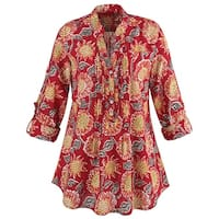 Women's Sunflowers Print 100% Cotton Tunic Top - Roll-Tab Sleeves Red Shirt