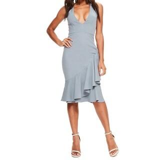 Missguided Womens (UK 6) V-Neck Ruffle Crepe Sheath Dress