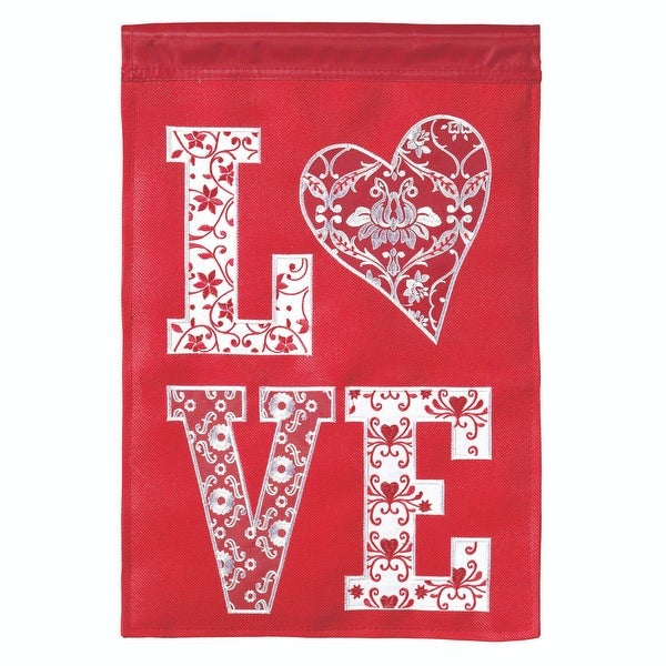 """Red and White """"LOVE"""" Printed Rectangular Large Flag 42"""" x 29"""" - N/A"""