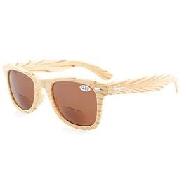 Eyekepper Beige Stripe Bamboo Wood Design Classic Bifocal Sun Readers Bifocal Sunglasses +2.25