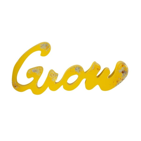 """37.5"""" Yellow Distressed Finish """"Grow"""" Hand-Painted Wall Decor - N/A"""