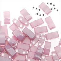 Miyuki Half Tila 2 Hole Rectangle Beads 5x2.3mm - Opaque Antiqued Rose Luster 7.8 Grams