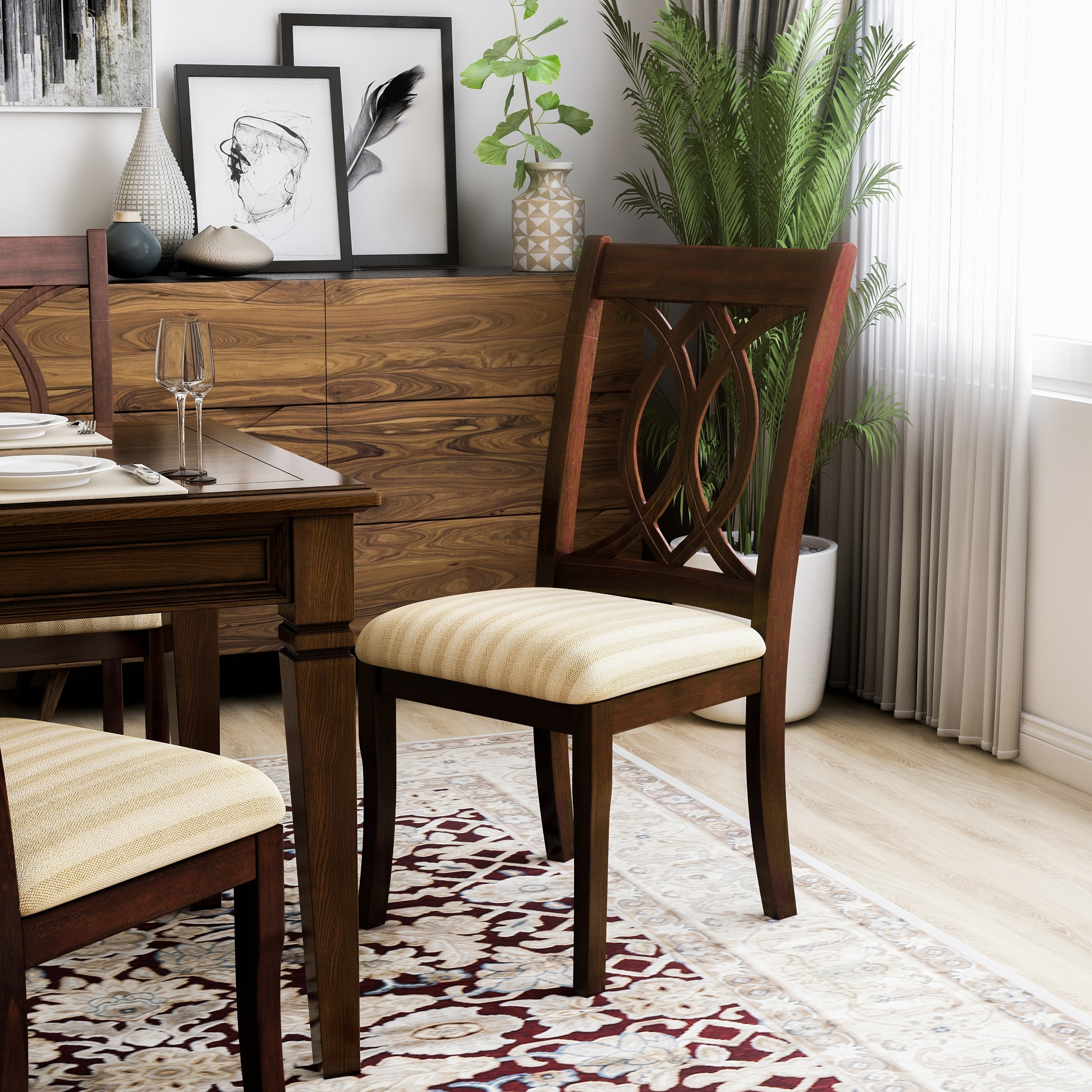 Picture of: Furniture Of America Rustic Cherry Padded Dining Chairs Set Of 2 On Sale Overstock 8904447