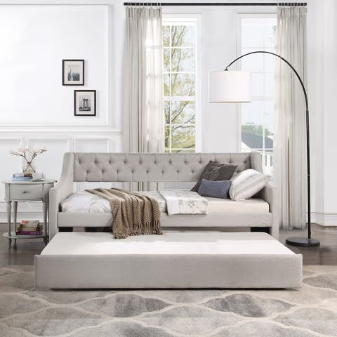 Daybed with Trundle Upholstered Tufted Sofa Bed, Twin Size, Beige