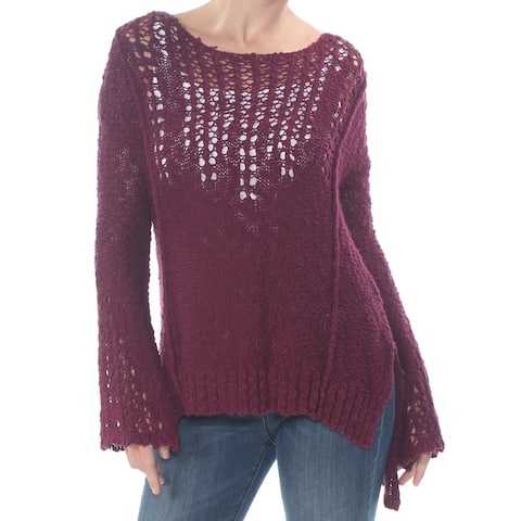 ARIZONA Womens Maroon Knit Bell Sleeve Jewel Neck Sweater Size M
