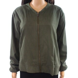 14th & Union NEW Green Womens Size XL Full-Zip Twill Bomber Jacket