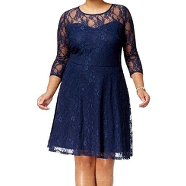 Love Squared Blue Womens Size 1X Plus Lace Illusion Skater Dress