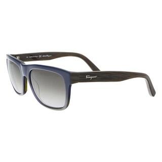 Salvatore Ferragamo SF686S 401 Blue Gradient Plastic Modified Rectangle Sunglasses - 56-18-140